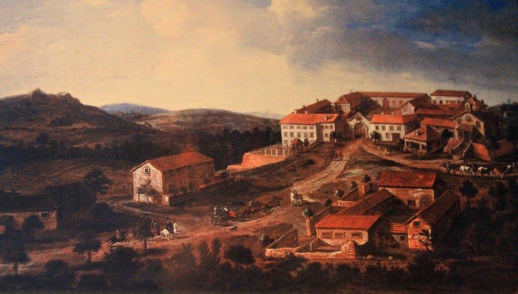 Et bilde jeg fant på museet som viser hvordan gården så ut på 1700-tallet.