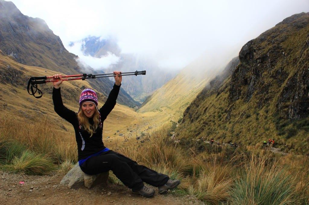 Fornøyd over å ha nådd det høyeste punktet på inka trail, 4,200 moh!