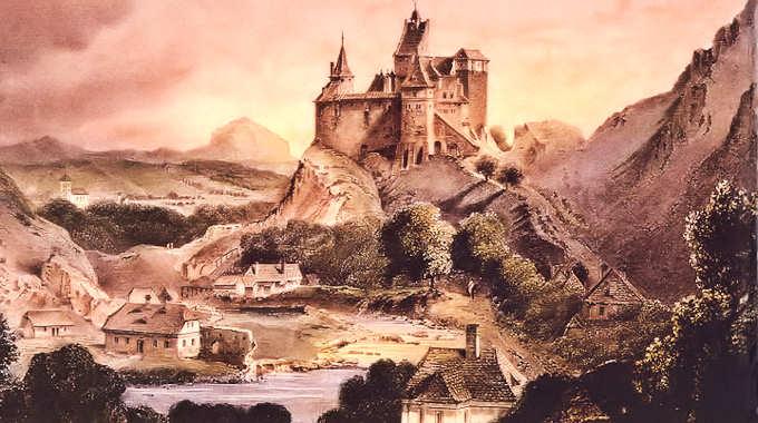 En gammel illustrasjon av slottet, hentet fra www.bran-castle.com