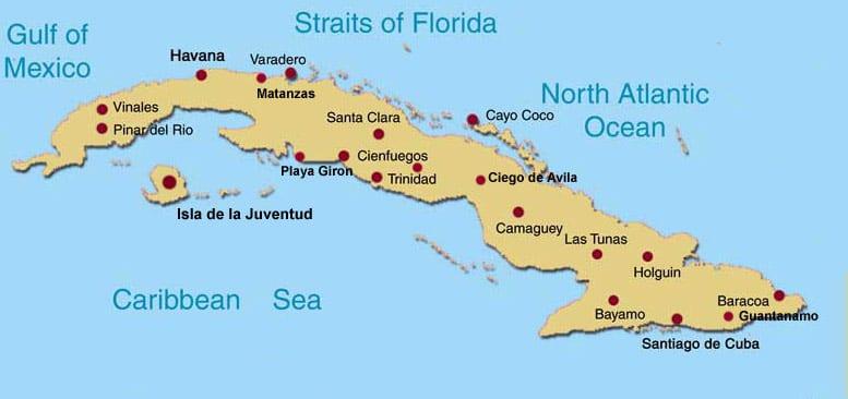 Kart over Cuba, fra lahistoricaconmapas.com